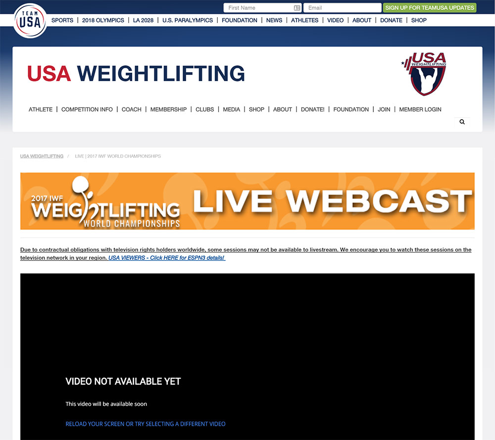 Watch the World Weightlifting Championship 2017 in Anaheim LIVE